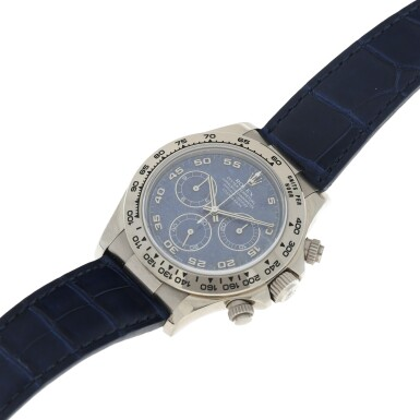 View 7. Thumbnail of Lot 9. REFERENCE 116519 DAYTONA A RARE WHITE GOLD AUTOMATIC CHRONOGRAPH WRISTWATCH WITH SODALITE DIAL, CIRCA 2002.