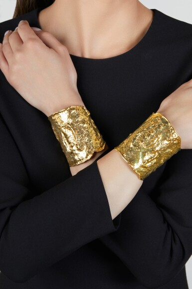 View 2. Thumbnail of Lot 238. Pair of Gold 'Manchette' Cuff-Bracelets.