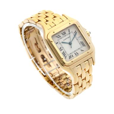 View 3. Thumbnail of Lot 21. Panthère  A yellow gold square shaped wristwatch with date and bracelet, Circa 1995 .