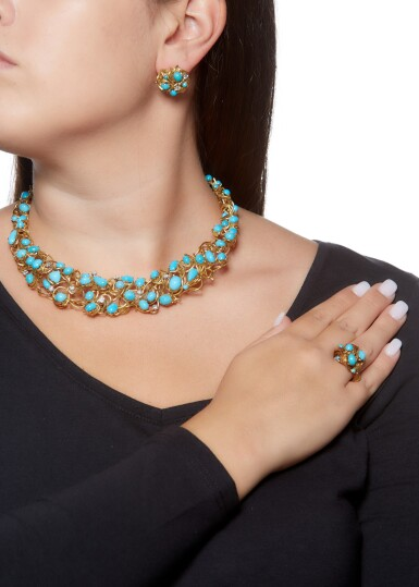 View 4. Thumbnail of Lot 85. TURQUOISE AND DIAMOND PARURE.