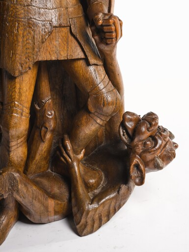 SOUTHERN NETHERLANDISH, PROBABLY BRABANT, CIRCA 1520 AND LATER   SAINT MICHAEL SLAYING THE DRAGON