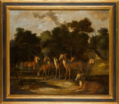View 2. Thumbnail of Lot 367. Stags and a hind by a pool in a forest clearing.