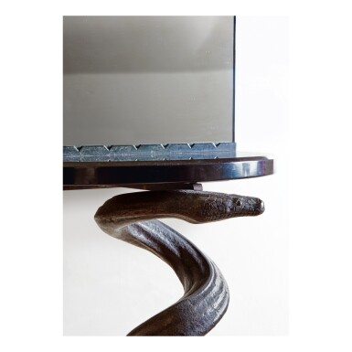 """View 2. Thumbnail of Lot 45. """"Cobra"""" Console and Mirror."""