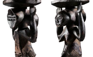 View 5. Thumbnail of Lot 50. Siège caryatide, Hemba / Luba, République Démocratique du Congo | Caryatid stool, Hemba / Luba, Democratic Republic of the Congo.
