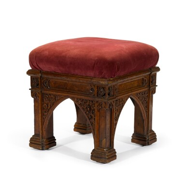 View 3. Thumbnail of Lot 168. A George IV carved and pollarded oak stool by Morel and Seddon, circa 1827-28, the design attributed to A. W. N. Pugin.