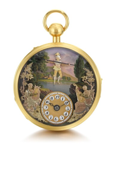 'THE TIGHTROPE WALKER'  DUBOIS ET FILS | A VERY RARE AND FINE GOLD AND ENAMEL QUARTER REPEATING TWO TRAIN MUSICAL WATCH WITH TIGHTROPE WALKING AUTOMATON AND TWO MUSICIANS PLAYING MUSIC, MADE FOR THE CHINESE MARKET  CIRCA 1810