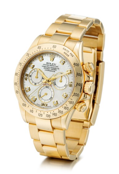 View 2. Thumbnail of Lot 104. ROLEX | COSMOGRAPH DAYTONA, REFERENCE 116528, A YELLOW GOLD AND DIAMOND-SET CHRONOGRAPH WRISTWATCH WITH MOTHER-OF-PEARL DIAL AND BRACELET, CIRCA 2010.