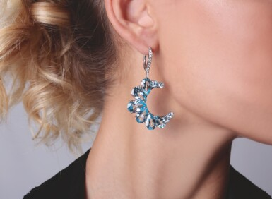 View 5. Thumbnail of Lot 14. PAIR OF AMETHYST, BLUE TOPAZ AND DIAMOND EARRINGS, MICHELE DELLA VALLE.