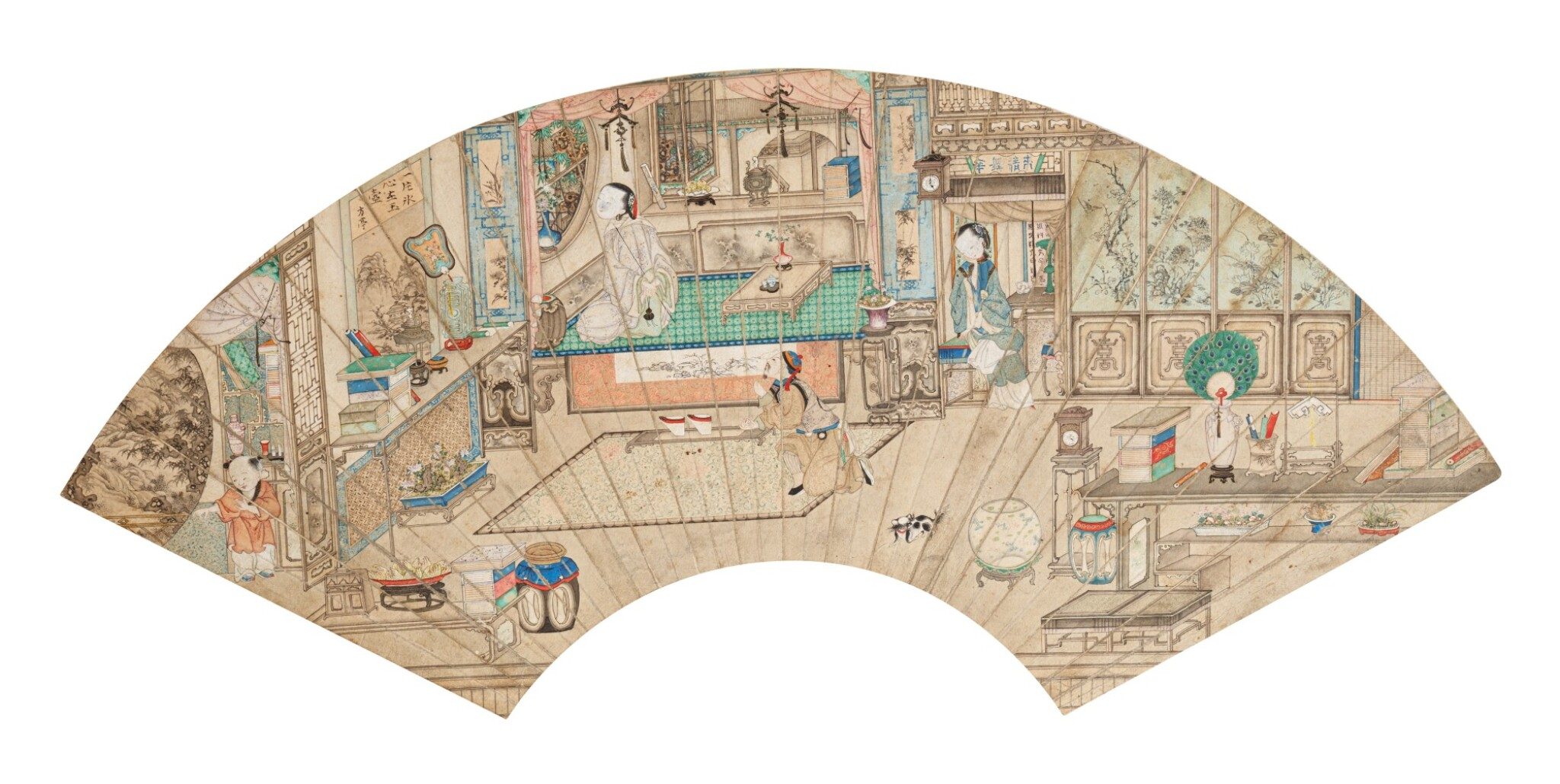 View 1 of Lot 116. Anonyme Scène d'intérieur avec personnages Dynastie Qing | 清 人物故事圖 | Anonymous, Interior scene with characters, ink and colour on paper, fan leaf, Qing Dynasty.