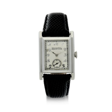 View 1. Thumbnail of Lot 40. PATEK PHILIPPE | A PLATINUM SQUARE SHAPED WRISTWATCH, MADE IN 1929 .