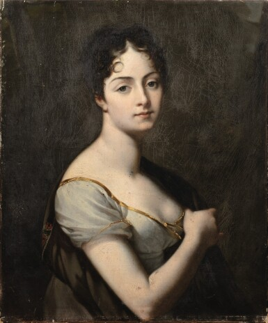 View 1. Thumbnail of Lot 64. Portrait of Adrienne de Canisy, Duchess of Vicence (1785-1876).