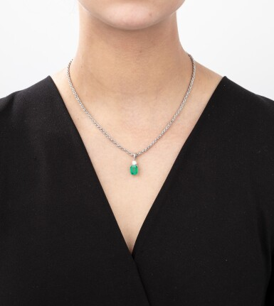 Emerald and diamond necklace [Collier émeraude et diamant]