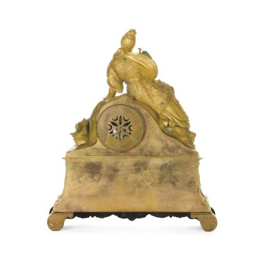 View 3. Thumbnail of Lot 65. A FRENCH CHINOISERIE GILT-BRONZE AND POLYCHROME DECORATED MANTEL CLOCK, CIRCA 1830.