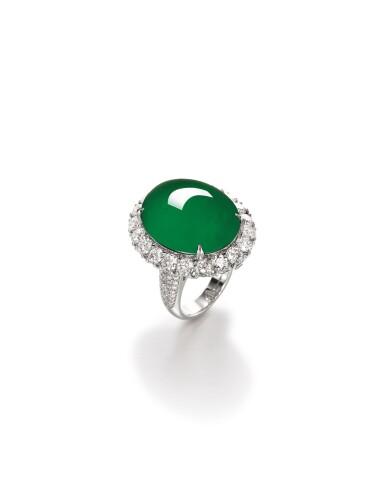 View 2. Thumbnail of Lot 1688. Imperial Green Jadeite and Diamond Ring / Pendant | 天然「帝王綠」翡翠 配 鑽石 戒指 / 吊墜.