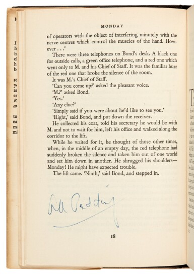 View 4. Thumbnail of Lot 16. FLEMING   Moonraker, 1955, first edition, presentation copy inscribed to Raymond Chandler.
