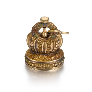 View 2. Thumbnail of Lot 283. SWISS | A GOLD AND ENAMEL MUSICAL FOB SEAL, CICA 1820.