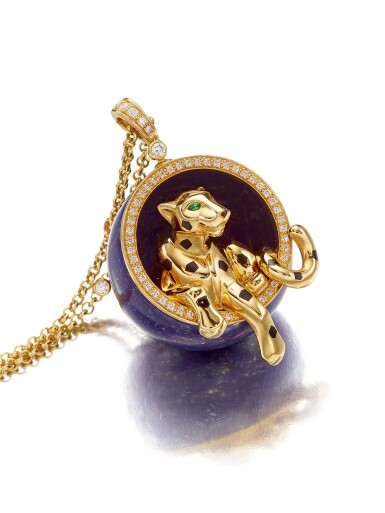 View 1. Thumbnail of Lot 1793. 'Panthère' Gold, Lapis Lazuli and Diamond Pendent Necklace | 卡地亞 | 'Panthère' K金 配 青金石 及 鑽石 項鏈.