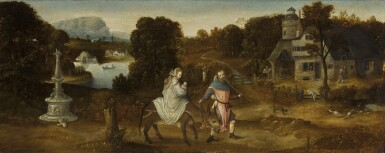 SOUTH NETHERLANDISH SCHOOL, MID 16TH CENTURY   Landscape with the Flight into Egypt