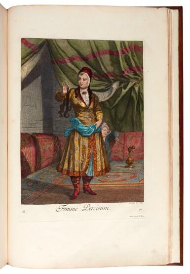 View 3. Thumbnail of Lot 64. Le Hay & Ferriol. Recueil de cent estampes. Paris, 1714. folio. hand-coloured plates. mottled calf gilt by Aquarius.
