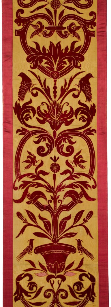 View 2. Thumbnail of Lot 140. AN APPLIQUÉ PANEL OF RED VELVET ON A YELLOW SILK GROUND, ITALIAN OR SPANISH, IN 16TH CENTURY STYLE, CIRCA 1860.