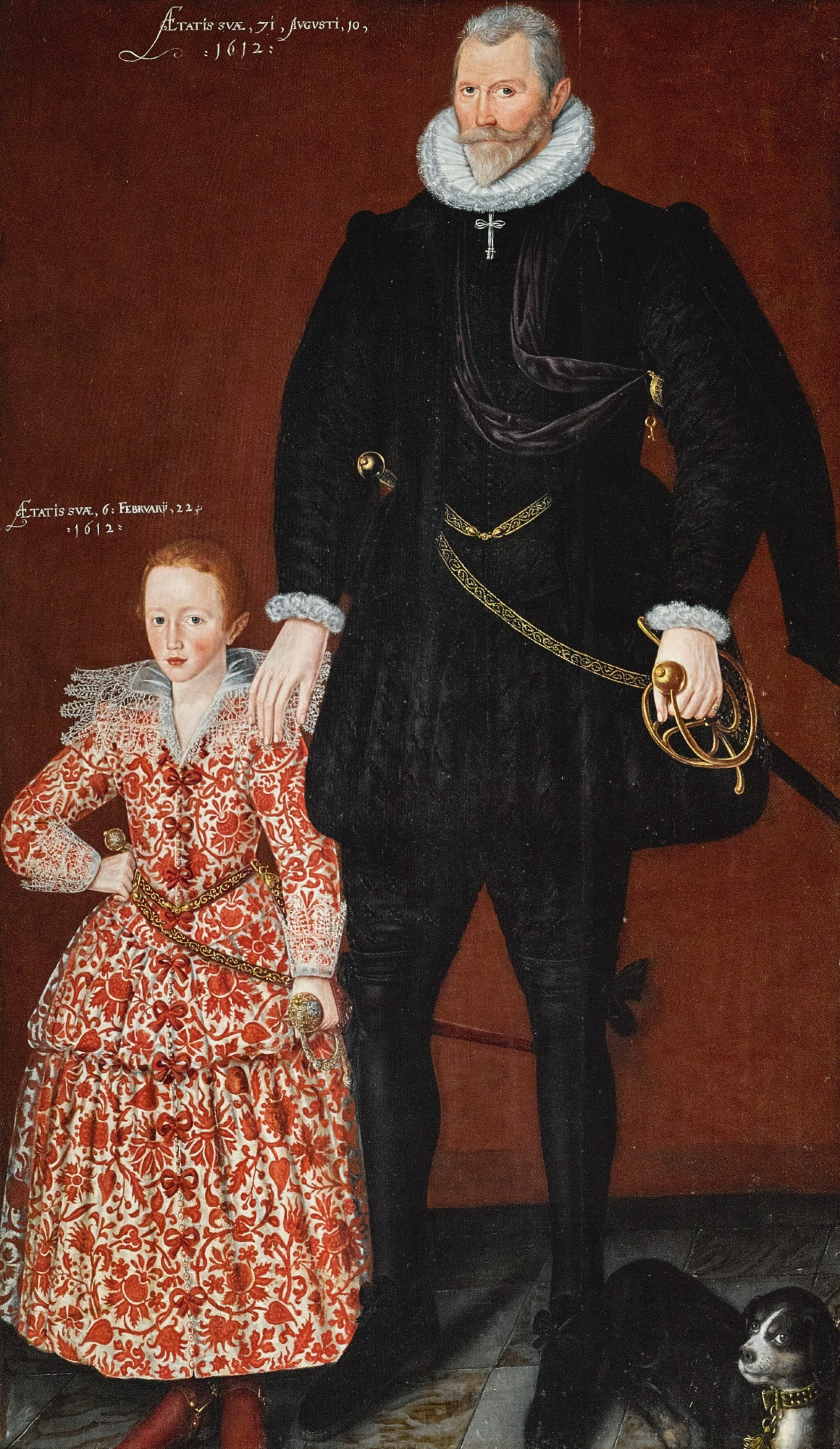 View full screen - View 1 of Lot 128. CIRCLE OF ROBERT PEAKE | Portrait of Sir Edward Pytts of Kyre Wyard and Sheriff of Worcestershire and his grandson, Edward Pytts, both full-length, the former in a black doublet and hose with a dog at his feet, the latter in a richly embroidered red and white dress, holding a sword.