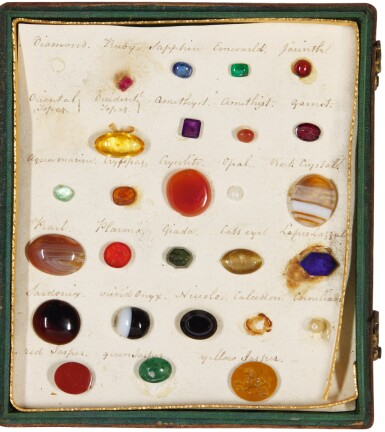 A SMALL COLLECTION OF SPECIMEN PRECIOUS STONES AND HARDSTONES IN CASE, LATE 18TH/EARLY 19TH CENTURY