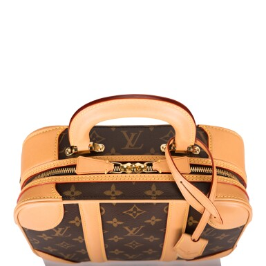 View 7. Thumbnail of Lot 85. LOUIS VUITTON   MONOGRAM VALISETTE MINI LUGGAGE PM IN COATED CANVAS AND VACHETTA LEATHER WITH GOLDEN BRASS HARDWARE.