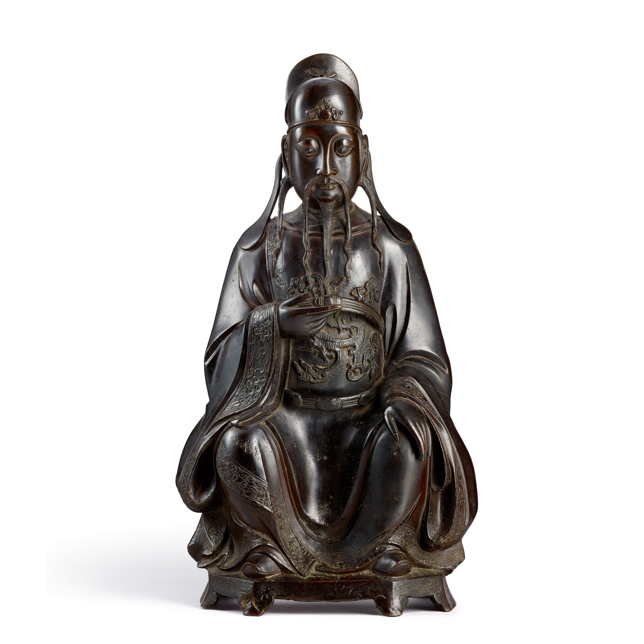 View full screen - View 1 of Lot 3683. A large bronze figure of Wenchang Late Ming dynasty   明末 銅文昌帝君坐像.