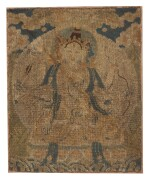 A RARE WOVEN AND EMBROIDERED SILK BUDDHIST FRAGMENT,  LATE MING DYNASTY   晚明 織繡尊勝佛母