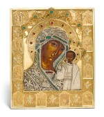 A rare jewelled and pearl-set silver-gilt icon of the Kazanskaya Mother of God, maker's mark Karl Sievers, retailed by Sazikov, St Petersburg, 1864