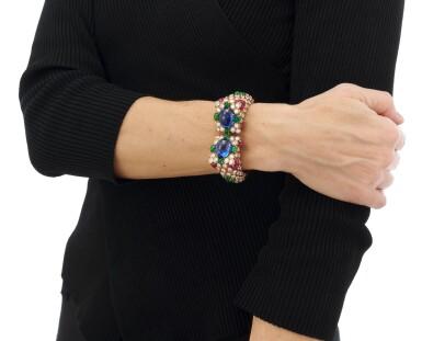 View 5. Thumbnail of Lot 77. Sapphire, emerald, ruby and diamond bracelet (Bracciale con zaffiri, smeraldi, rubini e diamanti).