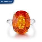 MANDARIN GARNET AND DIAMOND RING | 12.58卡拉 天然 石榴石 配 鑽石 戒指