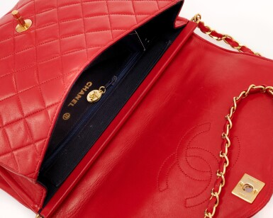View 4. Thumbnail of Lot 69. Red quilted leather and gold-tone metal chain shoulder bag.