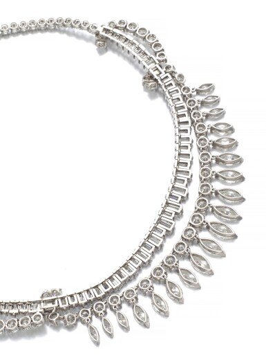 View 3. Thumbnail of Lot 63. DIAMOND NECKLACE, 1950S.