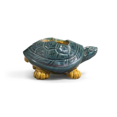 View 2. Thumbnail of Lot 222. A VERY RARE SMALL BLUE AND AMBER-GLAZED 'TORTOISE' WATERPOT TANG DYNASTY | 唐 藍釉加黃彩龜形水注.