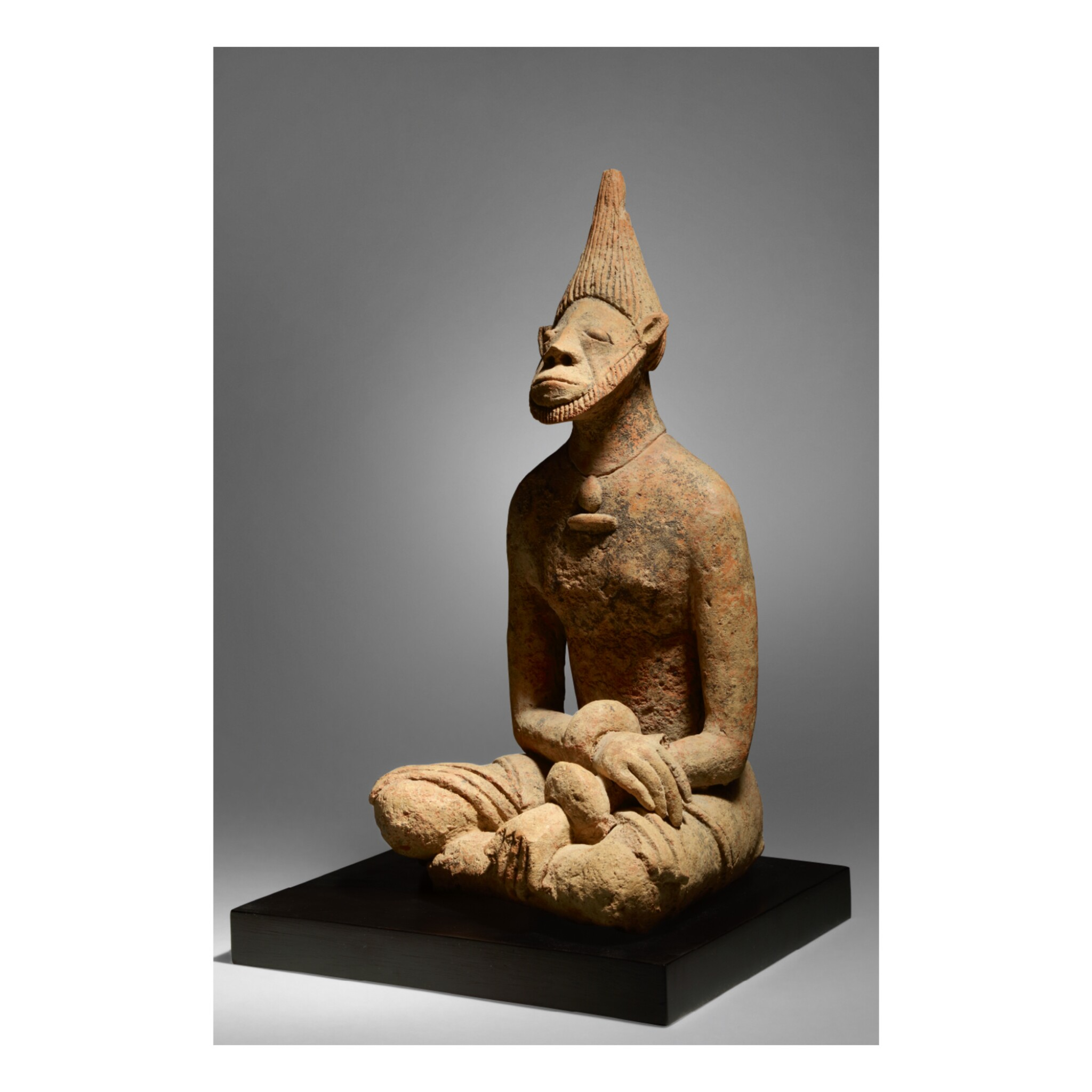 View full screen - View 1 of Lot 10. MIDDLE NIGER CIVILZATION SEATED MALE FIGURE, MALI, 12TH - 14TH CENTURY.