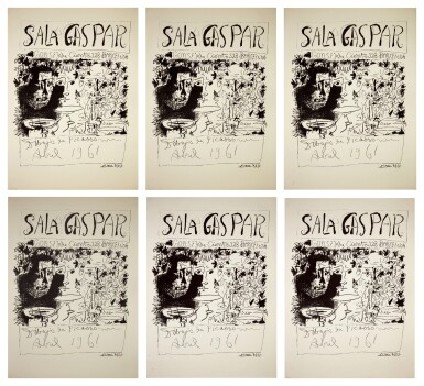 View 1. Thumbnail of Lot 138. PABLO PICASSO | SIX WORKS: AFFICHE BARCELONE, AVRIL 1961 - TROIS BUVEURS (B. 1294; M. 340).