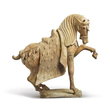 View 2. Thumbnail of Lot 688. A PAIR OF PAINTED POTTERY HORSES, TANG DYNASTY.