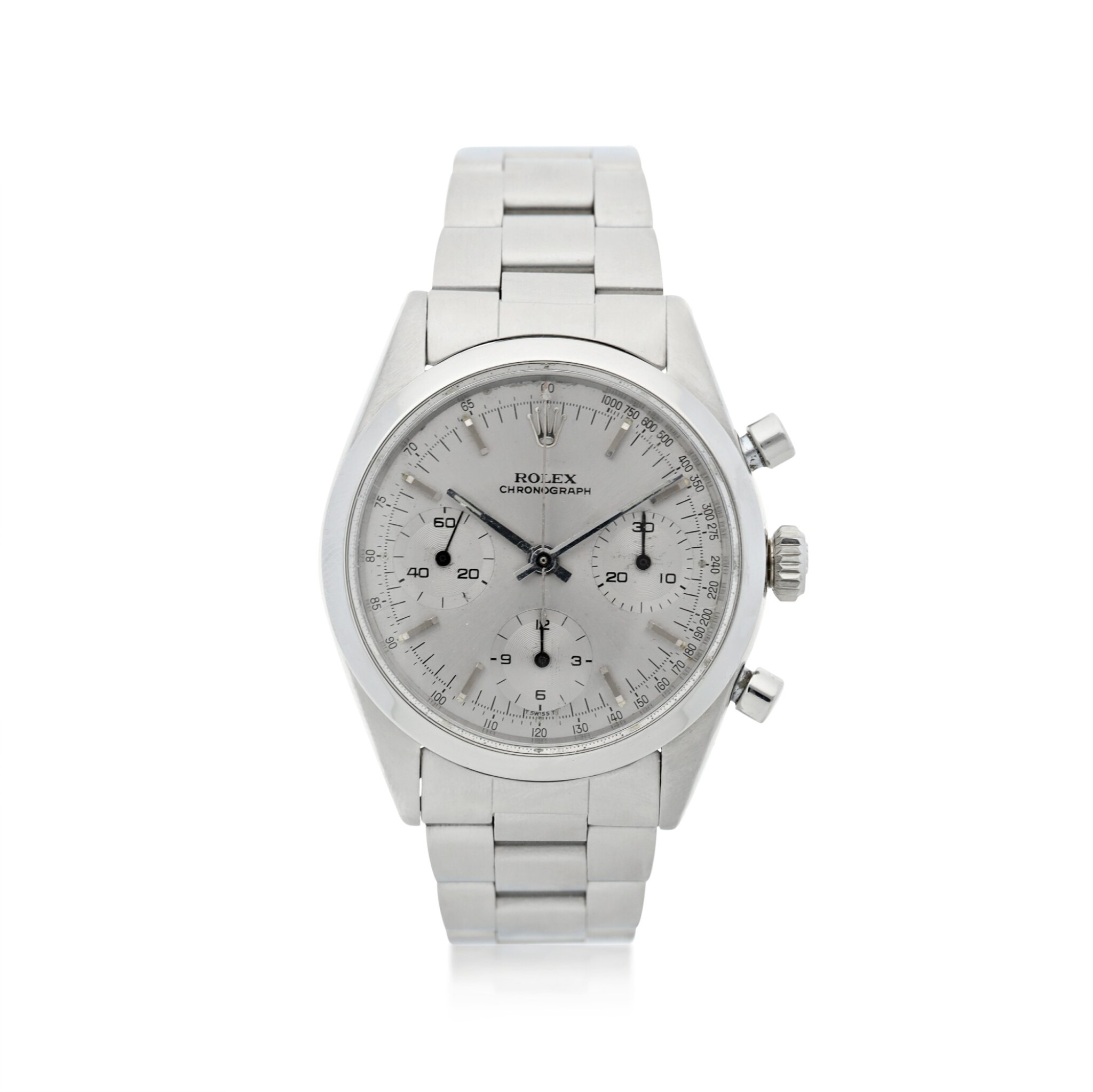 View full screen - View 1 of Lot 2. ROLEX | REFERENCE 6238 'PRE-DAYTONA'  A STAINLESS STEEL CHRONOGRAPH WRISTWATCH WITH BRACELET, CIRCA 1964.