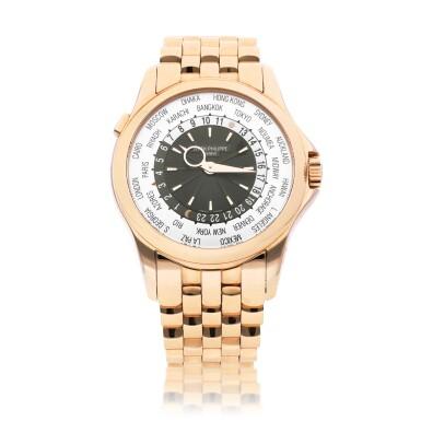 View 1. Thumbnail of Lot 8007. Patek Philippe | Reference 5130, A pink gold world time wristwatch with bracelet, Circa 2016 | 百達翡麗 |  型號5130   粉紅金世界時間鏈帶腕錶,約2016年製.