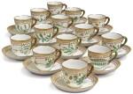 FOURTEEN ROYAL COPENHAGEN 'FLORA DANICA' COFFEE CUPS AND SAUCERS, MODERN
