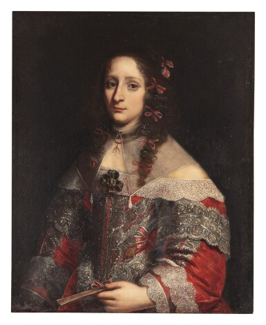 View 1. Thumbnail of Lot 1038. PIER FRANCESCO CITTADINI | PORTRAIT OF A LADY, THREE-QUARTER LENGTH, IN AN ELABORATELY DECORATED SILK RED DRESS WITH WHITE LACE AND A SHEER FALLING COLLAR.