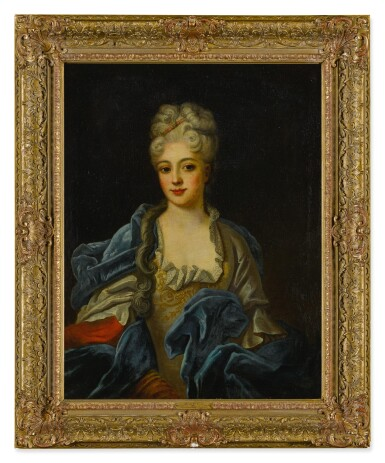 View 3. Thumbnail of Lot 88. Portrait of a lady in an embroidered gown with a blue velvet cloak, half length.