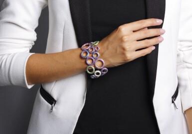 View 6. Thumbnail of Lot 11. Gem set and diamond bracelet, 'Bubbles', Michele della Valle.