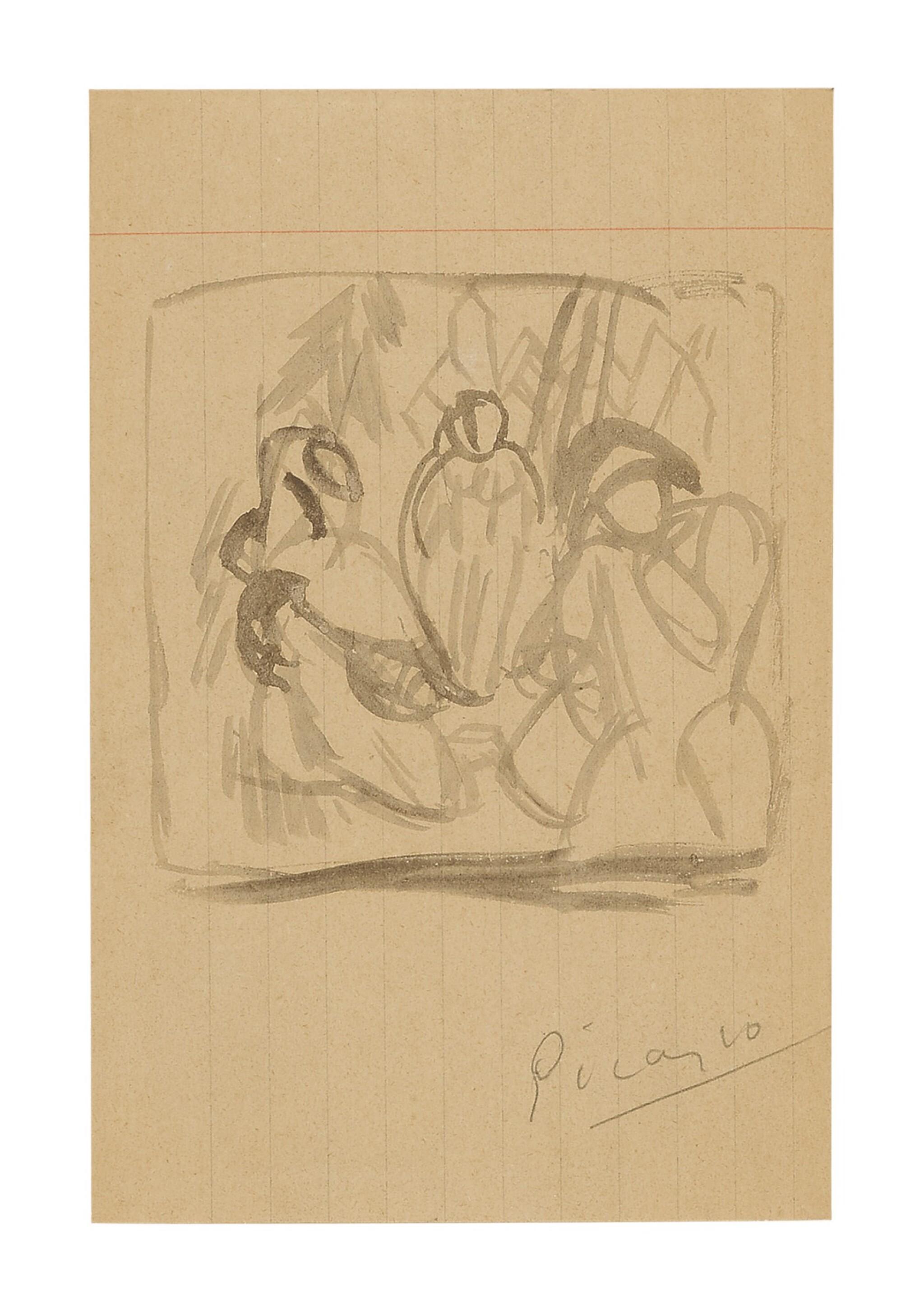 View full screen - View 1 of Lot 3. PABLO PICASSO   SAINT ANTOINE ET ARLEQUIN.
