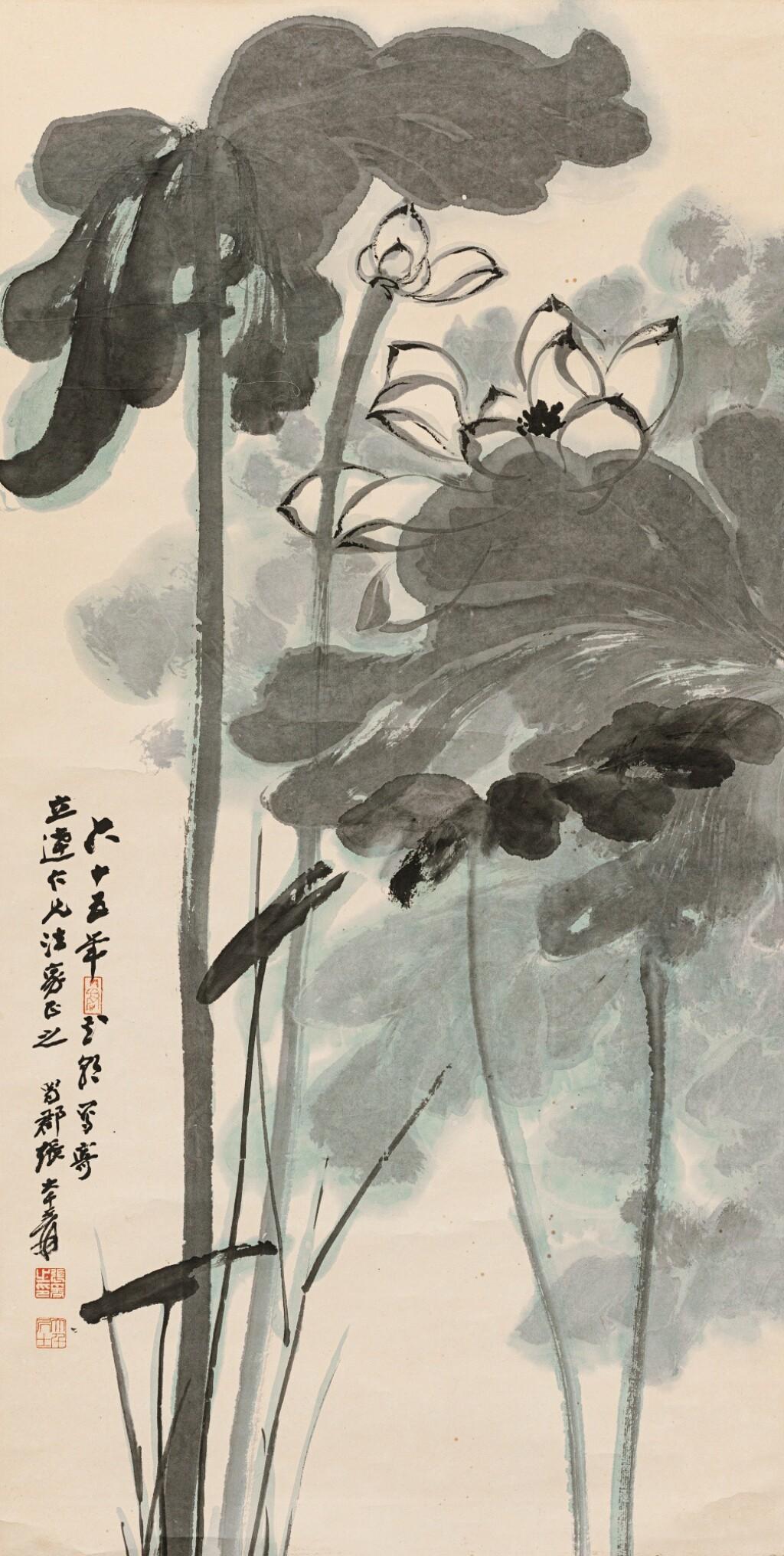 ZHANG DAQIAN (1899-1983) LE LOTUS | 張大千 《荷花》 設色紙本 立軸 1976年作 | Zhang Daqian (1899-1983) Lotus
