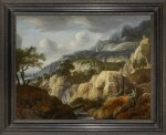 JAN LOOTEN | A MOUNTAINOUS LANDSCAPE WITH TRAVELLERS ON A PATH NEAR A WATERFALL AND A DRAUGHTSMAN ON A ROCK, A TOWN BEYOND