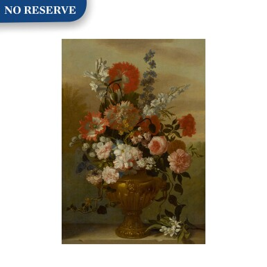 View 1. Thumbnail of Lot 117. Still life of flowers in a vase, upon a stone ledge.