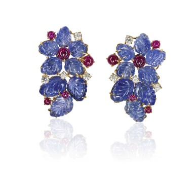 Pair of sapphire, ruby and diamond ear clips, Michele della Valle