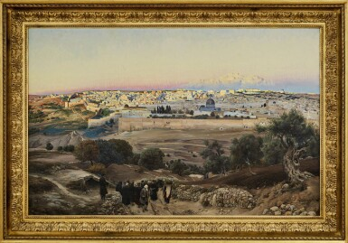 View 2. Thumbnail of Lot 68. GUSTAV BAUERNFEIND  | JERUSALEM, FROM THE MOUNT OF OLIVES AT SUNRISE.